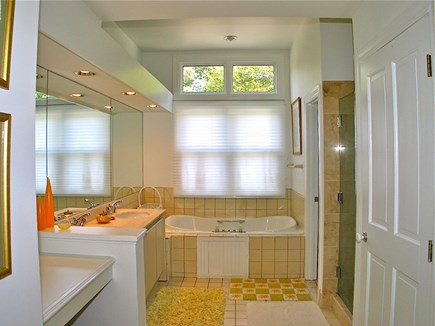 Vineyard Haven Martha's Vineyard vacation rental - Master bath with large soaking tub and glass shower