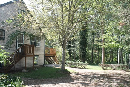 Vineyard Haven Martha's Vineyard vacation rental - Side of House and Driveway for Parking, overlooks woodland.