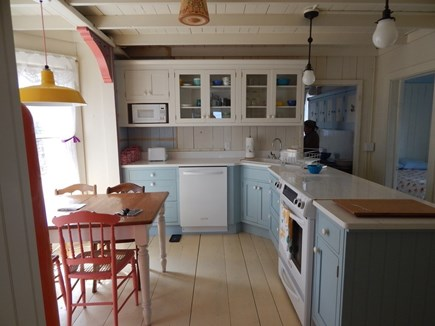 Oak Bluffs Martha's Vineyard vacation rental - The kitchen, including a dining bay, at the center of the house.