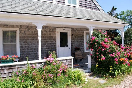 Chilmark Martha's Vineyard vacation rental - The sunny front porch, roses in bloom