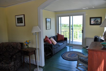 Chilmark Martha's Vineyard vacation rental - From the living room, looking through the TV room to the view.