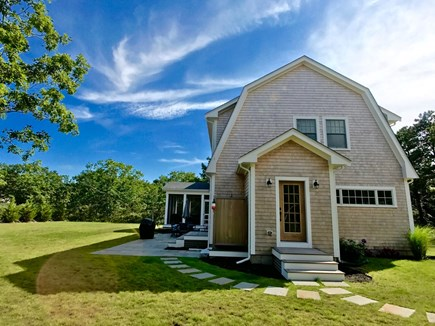 West Tisbury Martha's Vineyard vacation rental - View the house, outdoor shower, patio and large grassy yard