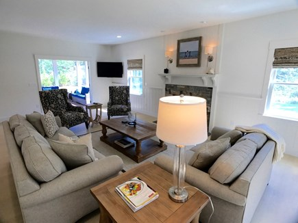 West Tisbury Martha's Vineyard vacation rental - Living room opens with french doors to the screened porch