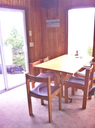 West Tisbury Martha's Vineyard vacation rental - Kitchen table replaced with round, antique, mission oak table.