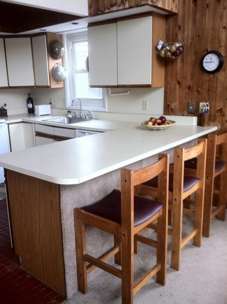 West Tisbury Martha's Vineyard vacation rental - Kitchen before hardwood counters, oak chairs, handmade cabinetry.