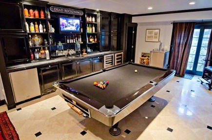 Vineyard Haven Martha's Vineyard vacation rental - Bar with Brunswick professional pool table, wet bar, wine fridge.