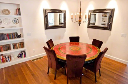 Vineyard Haven Martha's Vineyard vacation rental - Dining Room with antique table and comfortable velour chairs.