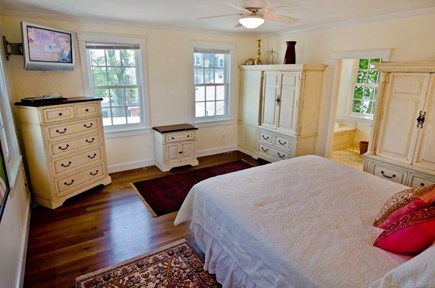 Vineyard Haven Martha's Vineyard vacation rental - King Bedroom #1 with en suite bathroom and Main Street views.