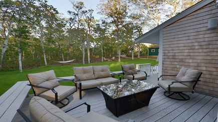 Oak Bluffs Martha's Vineyard vacation rental - Wraparound deck and table with fire pit