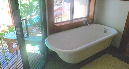 Vineyard Haven Martha's Vineyard vacation rental - Second floor solarium-style bath #1with claw-foot tub & shower.