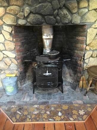 West Tisbury Martha's Vineyard vacation rental - Wood burning stove with mosaic floor