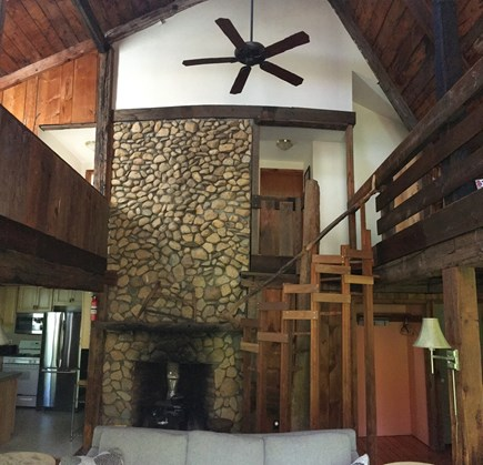 West Tisbury Martha's Vineyard vacation rental - Open living space with 2 story fireplace and 2 lofts.