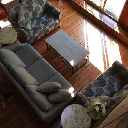 West Tisbury Martha's Vineyard vacation rental - Aerial view of the living room from loft