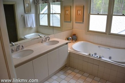 Vineyard Haven Martha's Vineyard vacation rental - Master bath with jacuzzi tub, separate shower and double vanity.