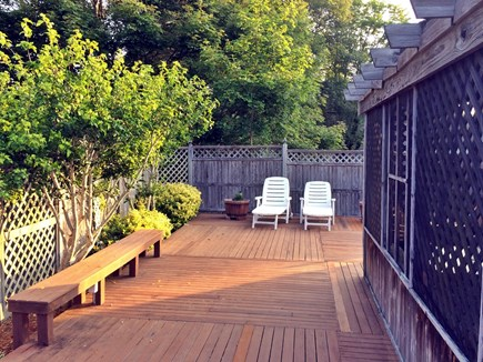 Oak Bluffs Martha's Vineyard vacation rental - Deck with benches and seating and privacy fence.