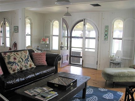 Oak Bluffs Martha's Vineyard vacation rental - Open living room looks out onto Ocean Park and the water.
