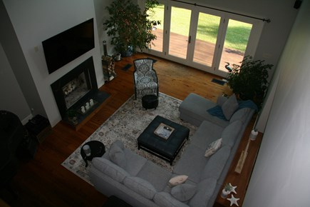 Edgartown Martha's Vineyard vacation rental - View of cozy living room from second floor