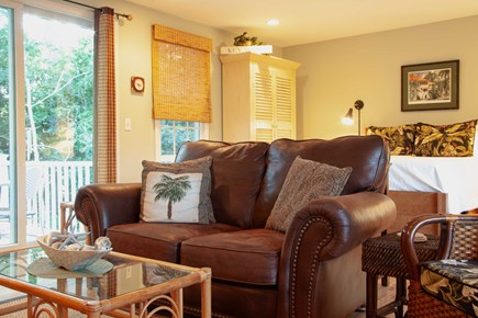 Katama - Edgartown Martha's Vineyard vacation rental - Cozy loveseat with view to the outdoor deck.