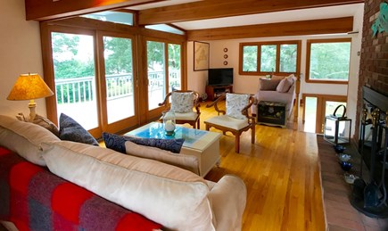 Oak Bluffs Martha's Vineyard vacation rental - Living room with sliding doors to the deck