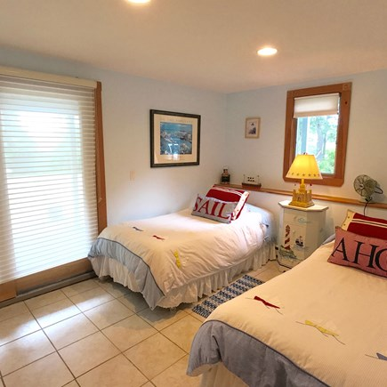 Oak Bluffs Martha's Vineyard vacation rental - Twin guest room with sliders to the patio