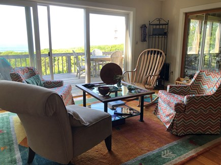 Chilmark Martha's Vineyard vacation rental - Sitting area, facing deck with ocean view
