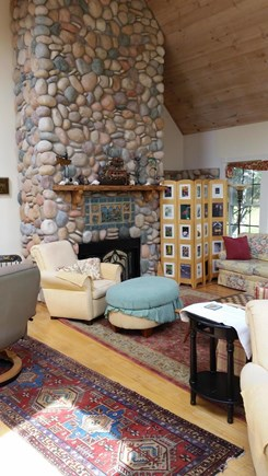 West Tisbury Village Martha's Vineyard vacation rental - Floor to ceiling fireplace in 24 by 24 foot livingoom.