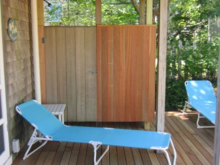 Oak Bluffs harbor In-town Martha's Vineyard vacation rental - Deck and outdoor shower