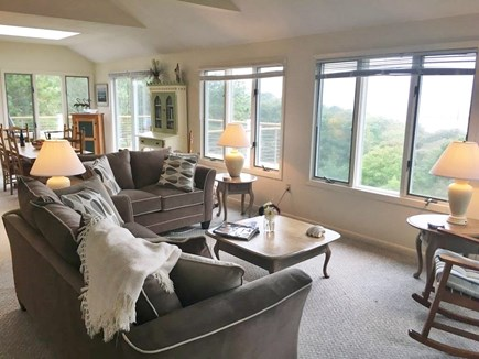 Edgartown-Chappaquiddick Martha's Vineyard vacation rental - 32' long, cathedral ceiling living room-views across Bay & Ocean