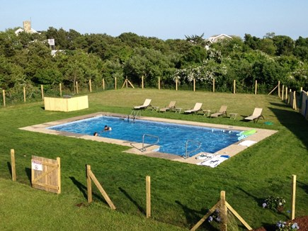 Katama - Edgartown, Katama Martha's Vineyard vacation rental - Private, flat back yard with 20' x 40' pool and large play area