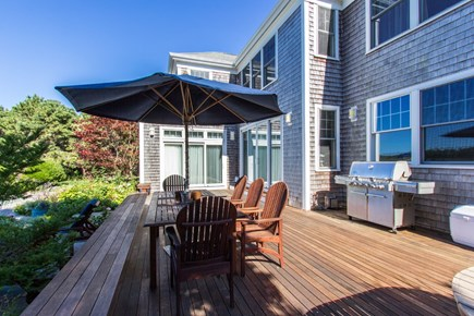 West Tisbury Martha's Vineyard vacation rental - Deck and Grill Area off Living Room Overlooking Pool and Pasture