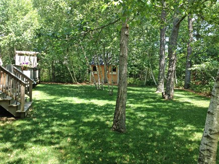 West Tisbury Martha's Vineyard vacation rental - Across back yard w/a glider bench and, in-season, a hammock