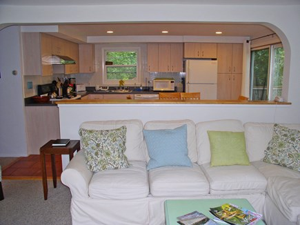 West Tisbury Martha's Vineyard vacation rental - Partial LR view, open to the kitchen/DR area with sliders to deck