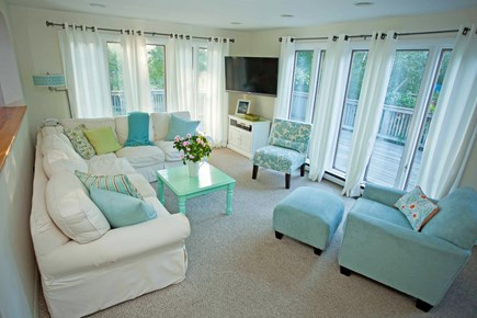 West Tisbury Martha's Vineyard vacation rental - The inviting and beachy LR w/2 walls of floor-to-ceiling windows