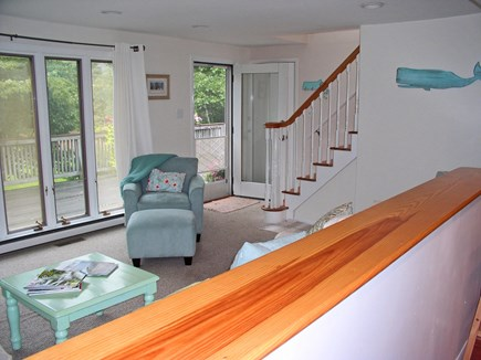 West Tisbury Martha's Vineyard vacation rental - View from the kitchen area toward the front door showing stairs