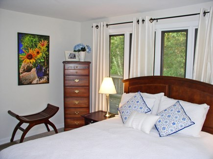 West Tisbury Martha's Vineyard vacation rental - The 1st FL queen BR w/a wall of windows and sliders to the deck