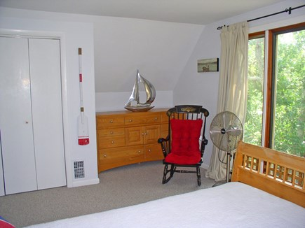 West Tisbury Martha's Vineyard vacation rental - 2nd FL queen BR with a full wall of windows - child fenced!