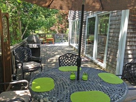 West Tisbury Martha's Vineyard vacation rental - Dining & grilling on the deck with kitchen's sliders to the right