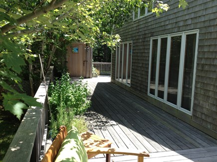 West Tisbury Martha's Vineyard vacation rental - The left side of the wraparound deck, toward the artisan O/S.