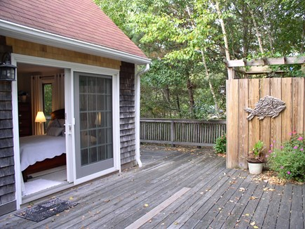 West Tisbury Martha's Vineyard vacation rental - The side of the outdoor shower with the 1st FL's queen BR sliders