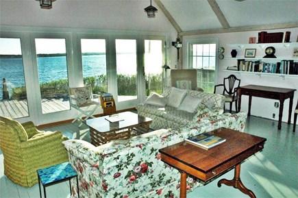 Katama - Edgartown, Edgartown Martha's Vineyard vacation rental - Living Room with views of deck/dock/Bay