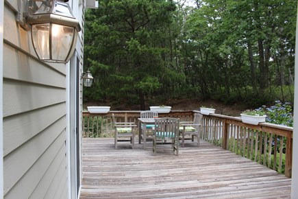 Vineyard Haven Martha's Vineyard vacation rental - Outside view to back porch, outdoor table and fenced garden area