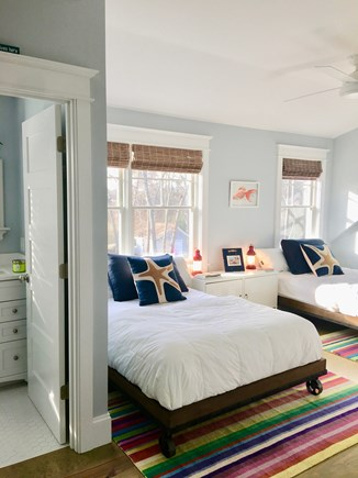 Downtown Vineyard Haven Martha's Vineyard vacation rental - Vibrant bedroom #3 with 2 Full beds and Ensuite Bath