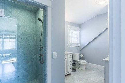 Downtown Vineyard Haven Martha's Vineyard vacation rental - Master Bath with steam shower/ separate vanities