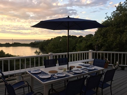 Oak Bluffs, East Chop Martha's Vineyard vacation rental - Sunset Outdoor Dining overlooking Crystal Lake & Vineyard Sound