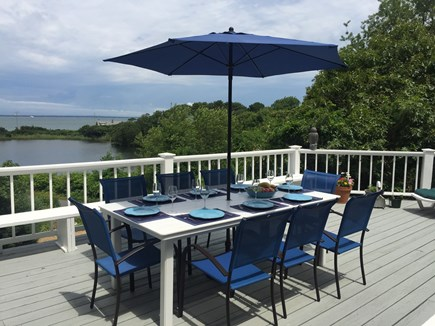 Oak Bluffs, East Chop Martha's Vineyard vacation rental - Outdoor deck dining with views of Crystal Lake & Vineyard Sound
