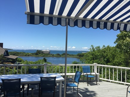 Oak Bluffs, East Chop Martha's Vineyard vacation rental - LR View: Deck w/ Awning, Vineyard Sound & Crystal Lake