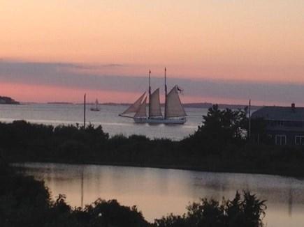 Oak Bluffs, East Chop Martha's Vineyard vacation rental - Deck at Sunset: Vineyard Sound, Crystal Lake & Tall Ship