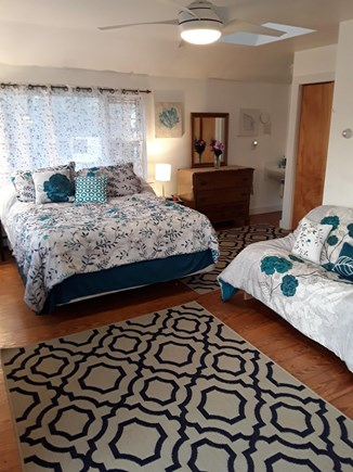 Oak Bluffs walk to town Martha's Vineyard vacation rental - Master bedroom with queen bed and full size futon.