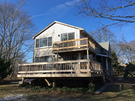 Oak Bluffs walk to town Martha's Vineyard vacation rental - Two decks with backyard.