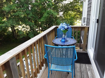 Oak Bluffs walk to town Martha's Vineyard vacation rental - Coffee or cocktails on your private deck off the master bedroom